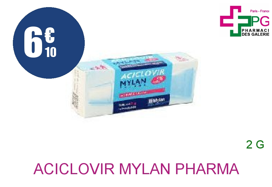 Achetez ACICLOVIR MYLAN PHARMA 5 % Crème Tube de 2g