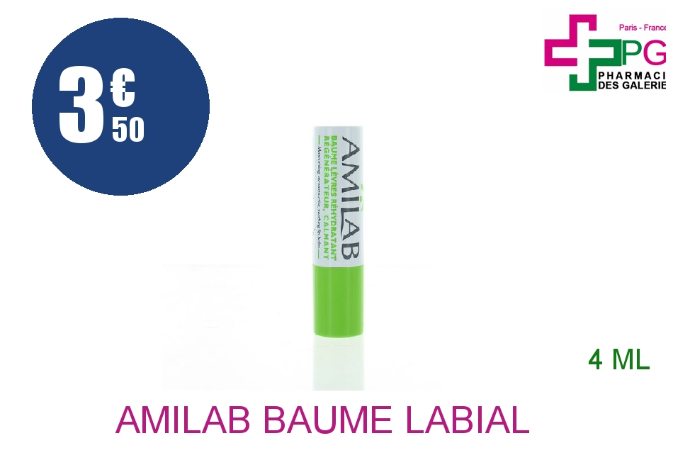 Achetez AMILAB Baume labial réhydratant calmant Stick de 3,6ml