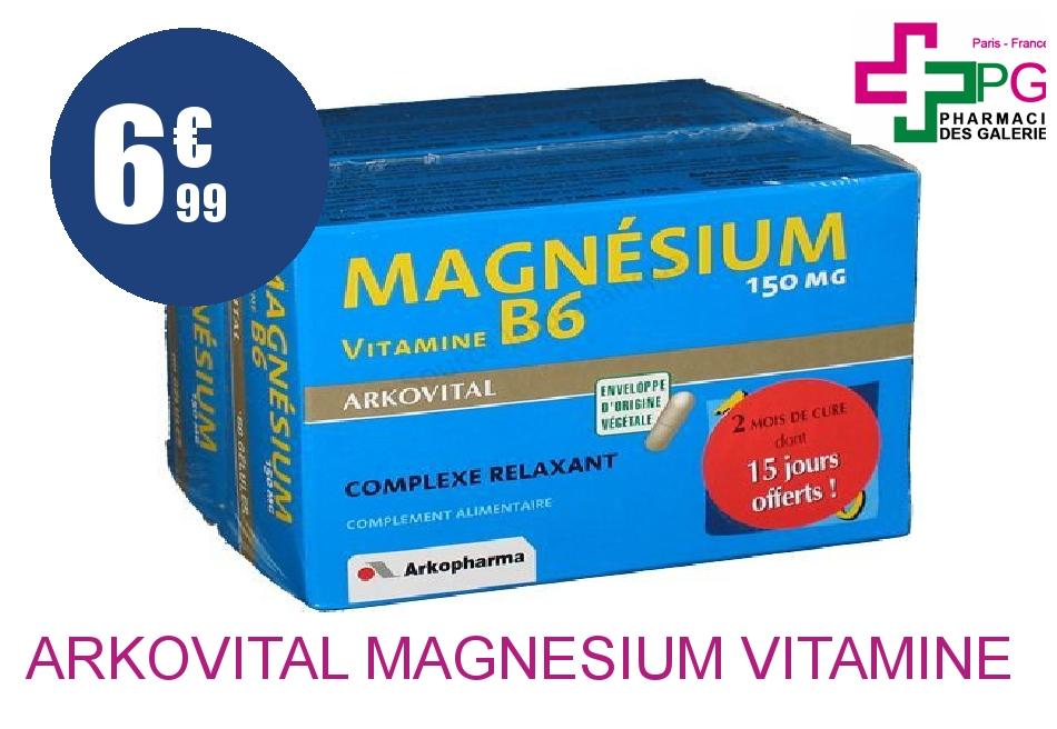 ARKOVITAL MAGNESIUM VITAMINE B6 Gélule 2 Boîte de 60