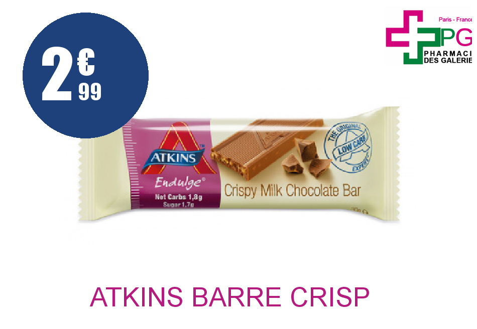 Achetez ATKINS BARRE CRISP CHOCO ,LAIT