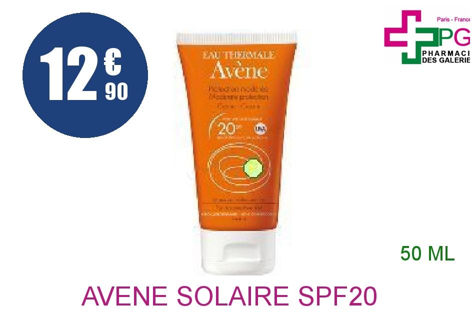Achetez AVENE SOLAIRE SPF20 Crème protection modérée Tube de 50ml