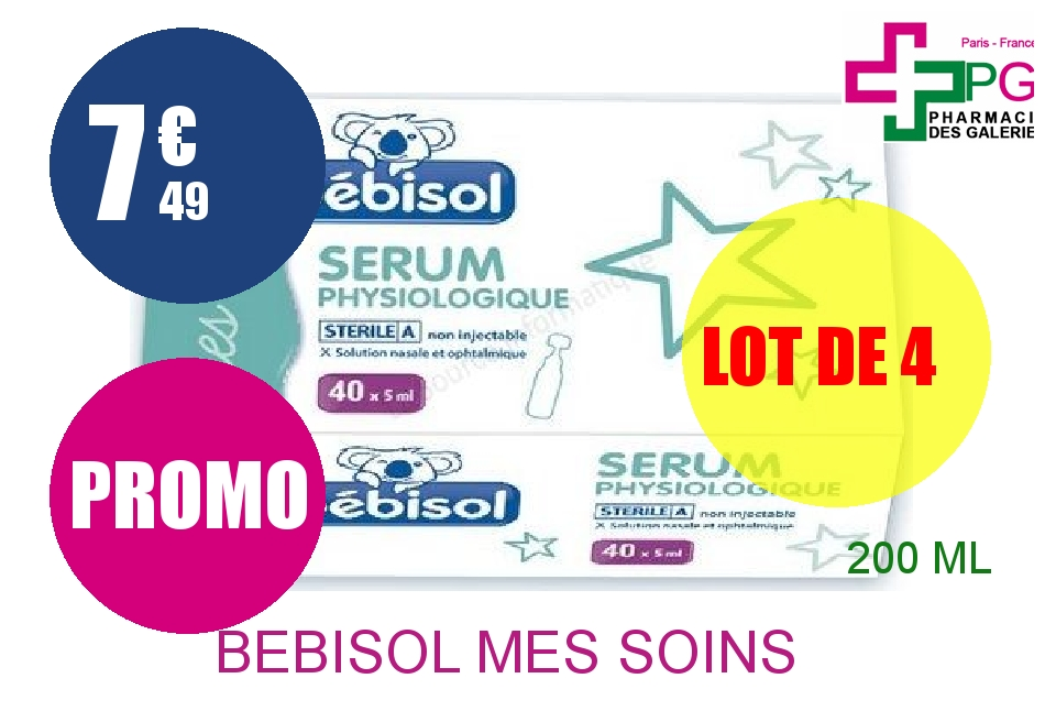 BEBISOL MES SOINS Solution Nasale sérum physiologique 40 Doses de 5ml Lot de 4