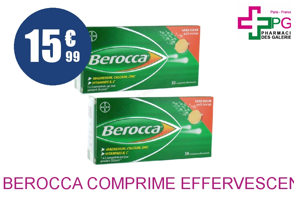 BEROCCA Comprimé Effervescent sans sucre Tube de 60