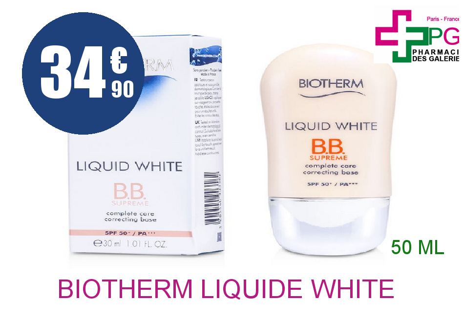 Achetez BIOTHERM LIQUIDE WHITE Crème UV suprême Flacon Airless de 30ml