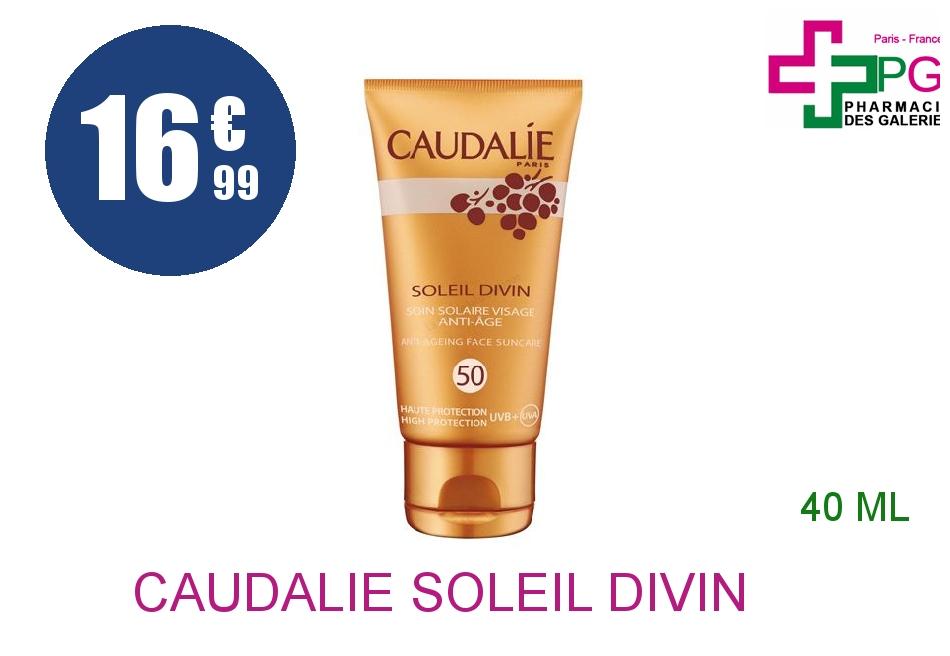 Achetez CAUDALIE SOLEIL DIVIN IP50 Crème soin solaire visage anti-âge Tube de 40ml