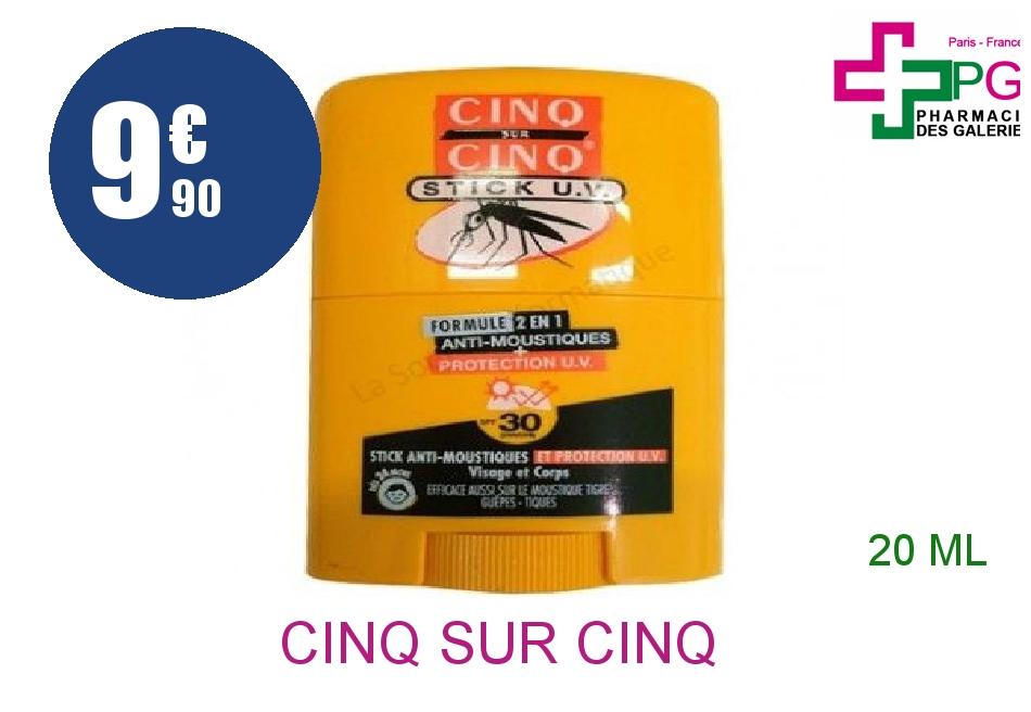 Achetez CINQ SUR CINQ Stick anti-moustique + anti-UV Bille de 20ml