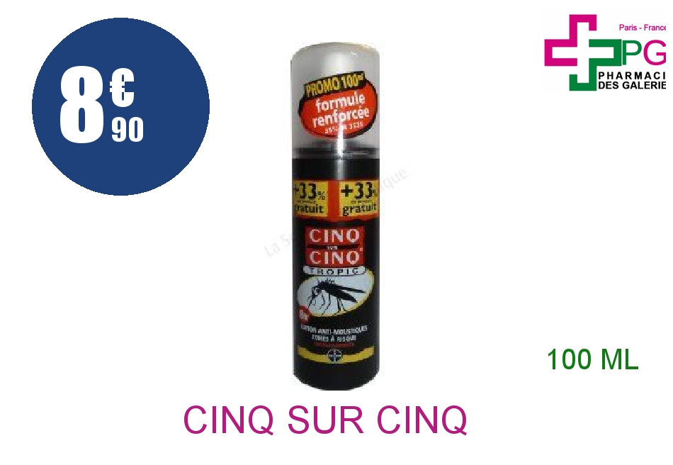 CINQ SUR CINQ TROPIC Lot anti-moustique Spray de 100ml