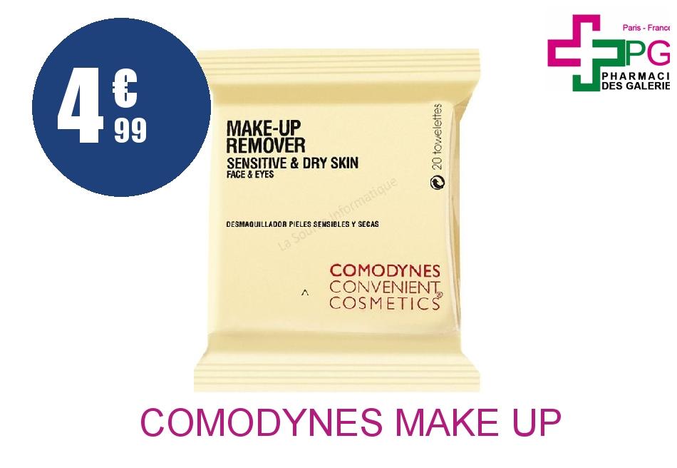 Achetez COMODYNES MAKE UP REMOVER Lingette démaquillante peau sensible 20 Sachet