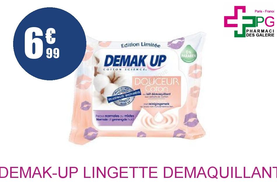 DEMAK-UP Lingette démaquillant peau normale à mixte Boîte de 25