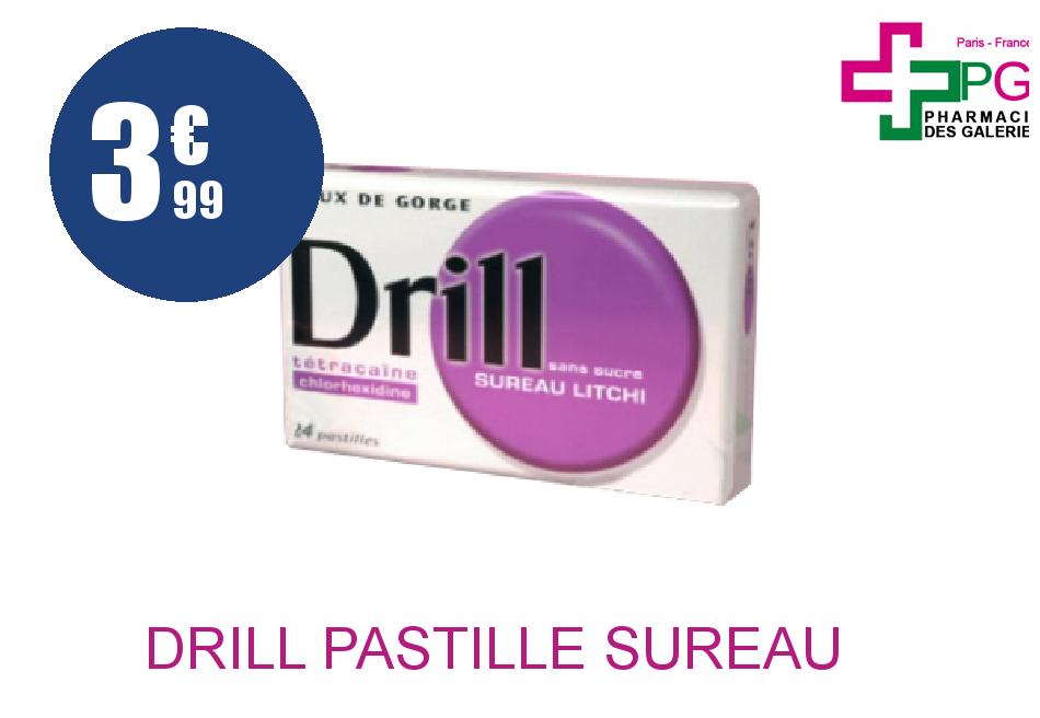 Achetez DRILL Pastille sureau litchi sans sucre Plaquette de 24 Pastille