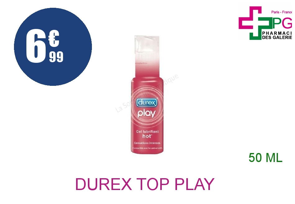 Achetez DUREX TOP PLAY Gel lubrifiant effet chauffant Flacon Pompe de 50ml