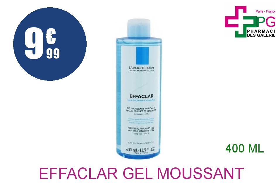 EFFACLAR Gel moussant purifiant Flacon Pompe de 400ml