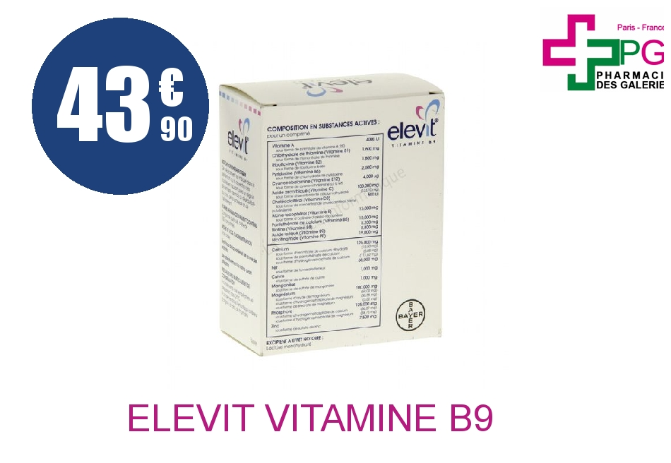 Achetez ELEVIT Vitamine B9 Comprimé Pelliculé Plaquette de 100