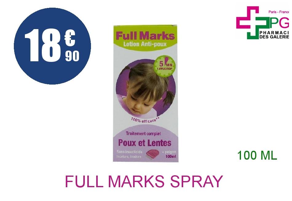 Achetez FULL MARKS Spray antipoux et lentes Flacon de 100ml+peigne