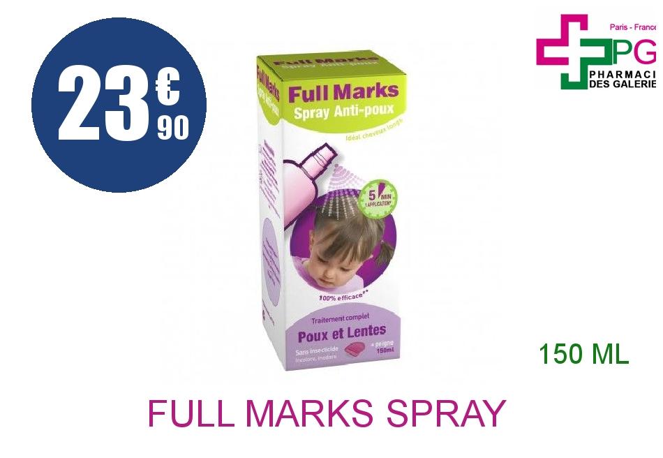 Achetez FULL MARKS Spray antipoux et lentes Flacon de 150ml+peigne