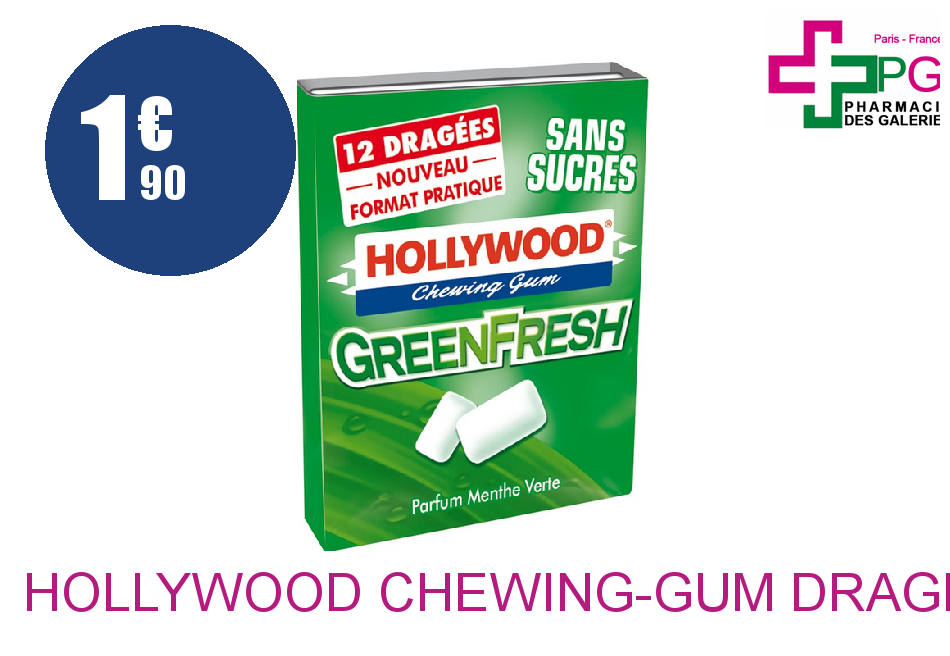 HOLLYWOOD Chewing-Gum dragée green fresh Etui de 10