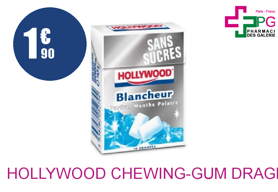 HOLLYWOOD Chewing-Gum dragée blancheur Etui de 10