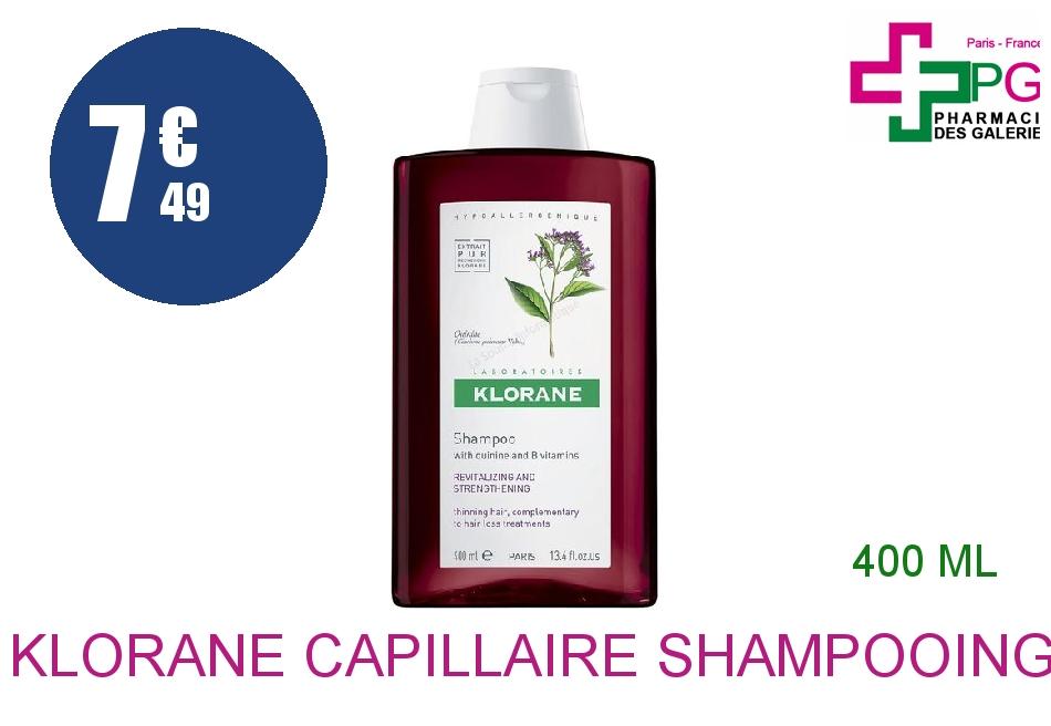 Achetez KLORANE CAPILLAIRE Shampooing Quinine Vitamine B6 Flacon de 400ml