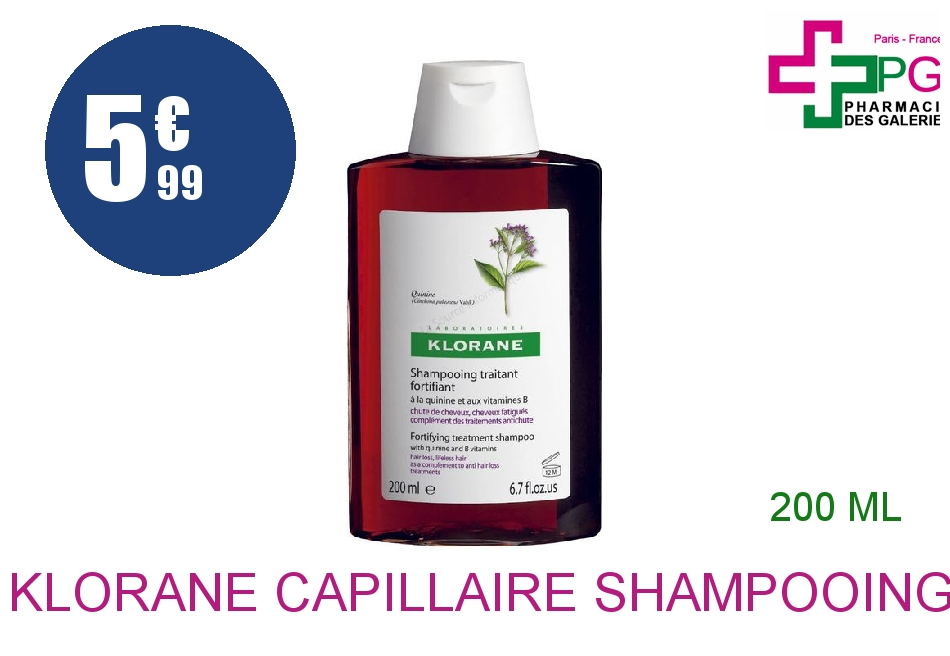 Achetez KLORANE CAPILLAIRE Shampooing Quinine Vitamine B6 Flacon de 200ml