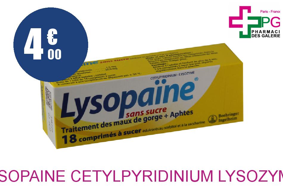 Achetez LYSOPAINE CETYLPYRIDINIUM LYSOZYME Comprimé à sucer maux de gorge sans sucre édulcoré au sorbitol et à la saccharine Tube de 18