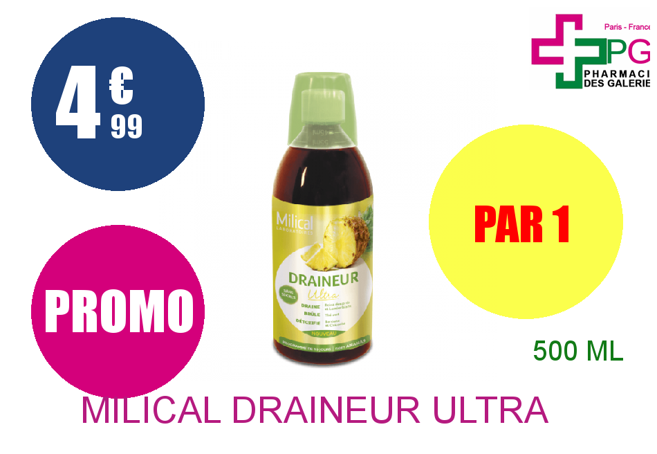 MILICAL DRAINEUR ULTRA Solution Buvable ananas Flacon de 500ml