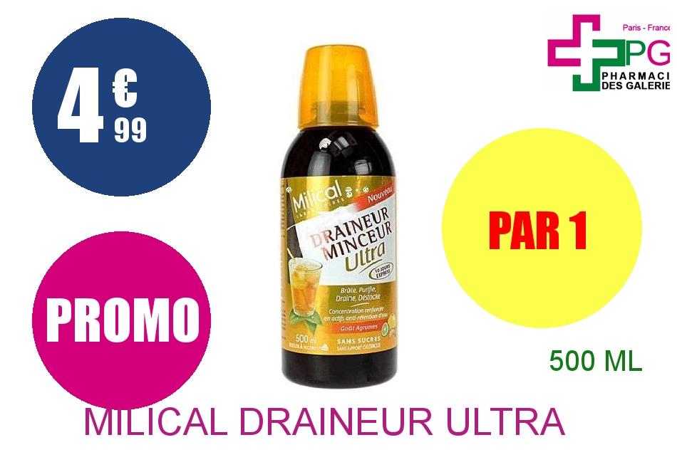 Achetez MILICAL DRAINEUR ULTRA Solution Buvable agrumes Flacon de 500ml