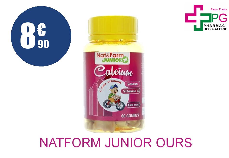 NAT&FORM JUNIOR OURS Gomme oursons Calcium Boîte de 60