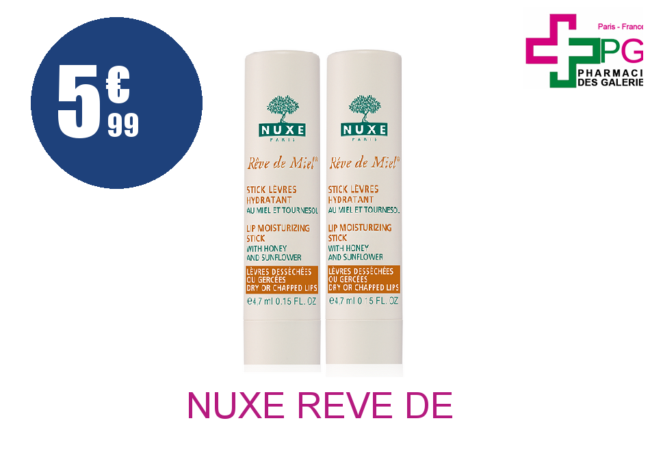 Achetez NUXE REVE DE MIEL STICK LEVRE DUO