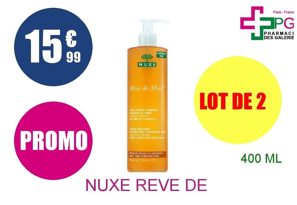 Achetez NUXE REVE DE MIEL Gel lavant surgras visage corps Flacon Pompe de 400ml Lot de 2