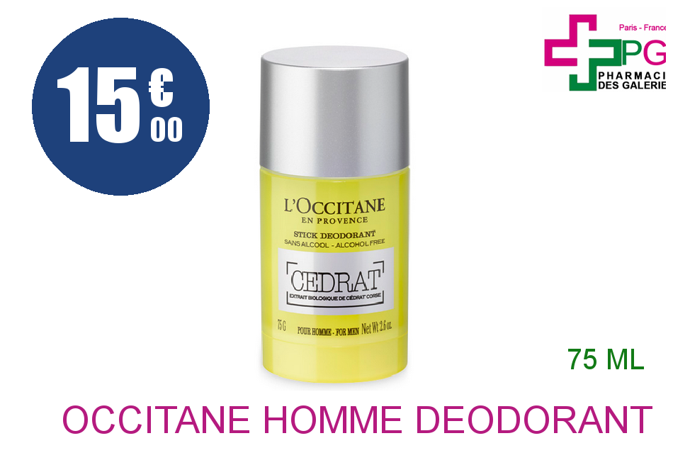Achetez L'OCCITANE L'HOMME Déodorant cédrat Stick de 75g