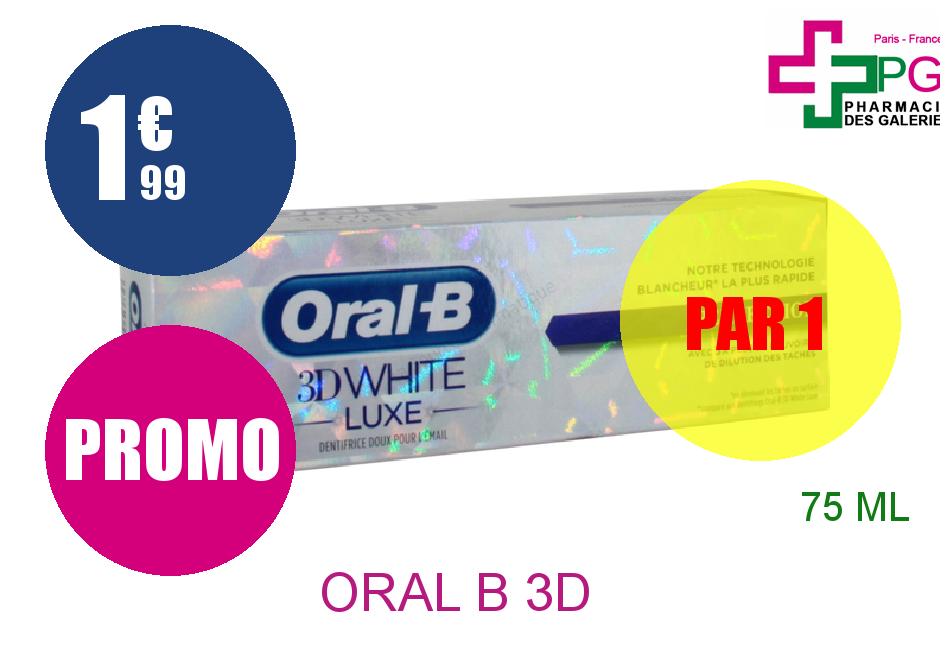 Achetez ORAL B 3D WHITE LUXE Dentifrice perfection Tube de 75ml