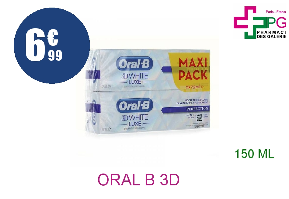 Achetez ORAL B 3D WHITE LUXE Dentifrice perfection 2 Tube de 75ml