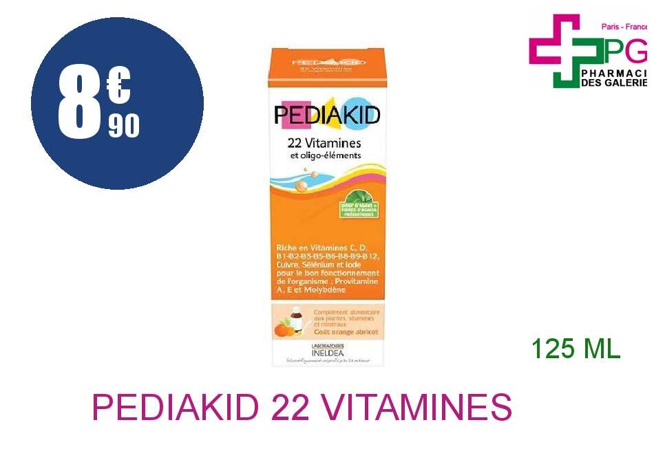 Achetez PEDIAKID 22 VITAMINES ET OLIGO-ELEMENTS Sirop abricot orange Flacon de 125ml