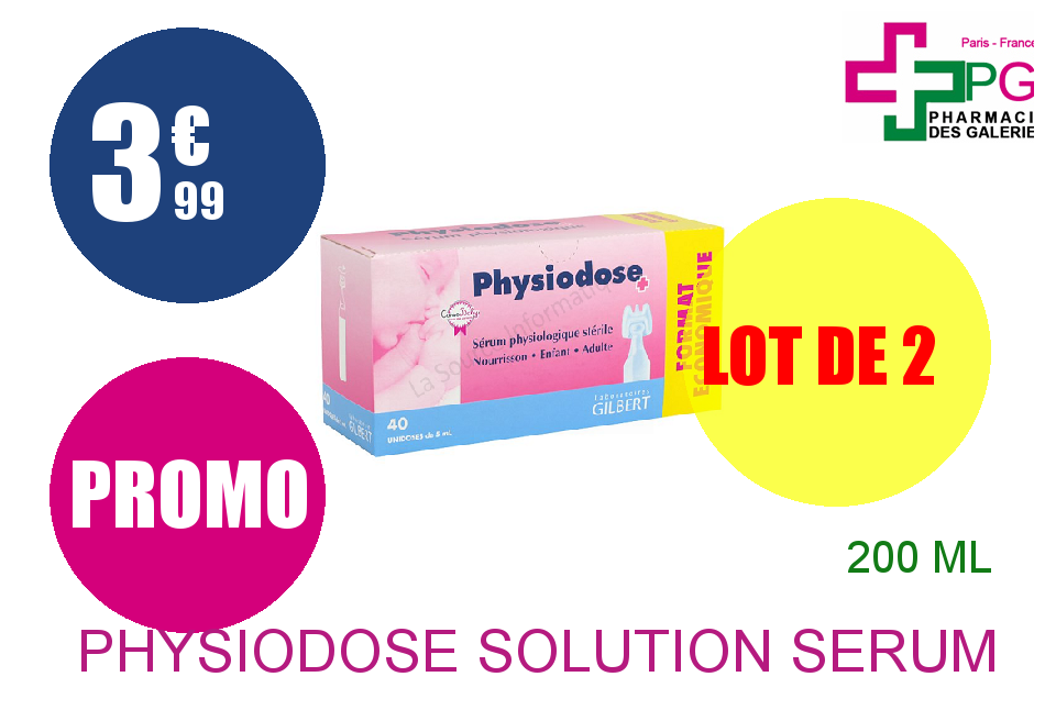 PHYSIODOSE Solution sérum physiologique 40 Unidose de 5ml Lot de 2