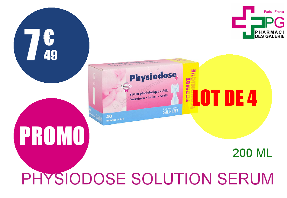 Achetez PHYSIODOSE Solution sérum physiologique 40 Unidose de 5ml Lot de 4