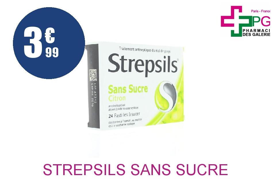 Achetez STREPSILS sans sucre Pastille citron Plaquette de 24