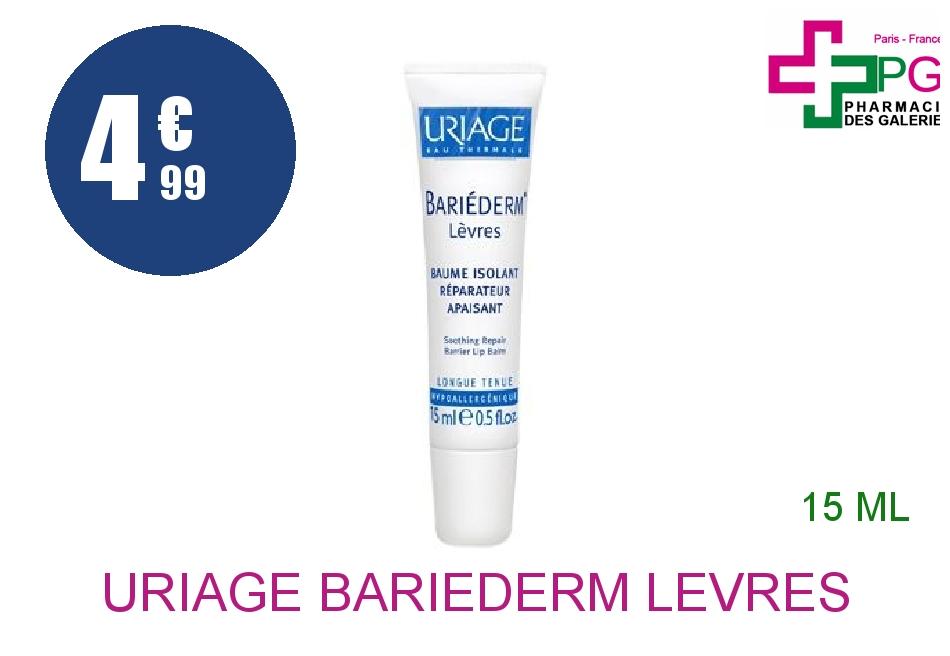 Achetez URIAGE BARIEDERM LEVRES Baume labial réparateur apaisant Tube de 15ml
