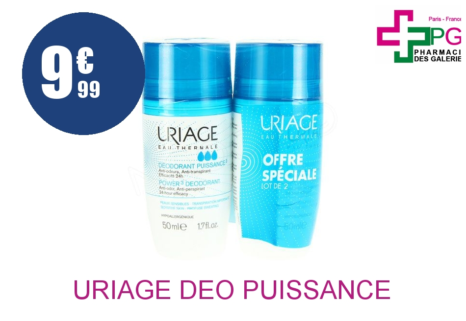 URIAGE DEO PUISSANCE 3 ROLL ON 50ML X2