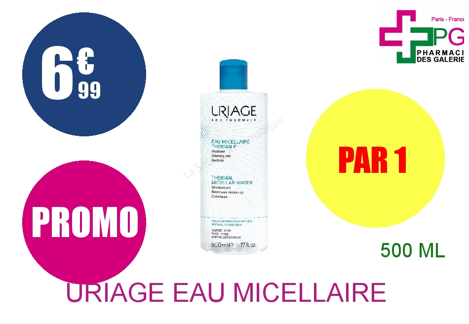Achetez URIAGE Eau micellaire thermale peau normale à sèche Flacon de 500ml