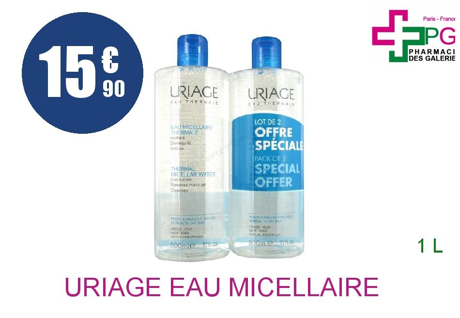 Achetez URIAGE Eau micellaire thermale peau normale à sèche 2 Flacon de 500ml