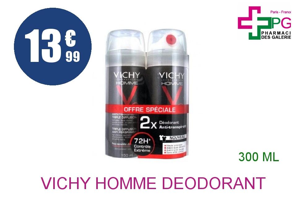 VICHY HOMME Déodorant anti-transpirant triple diffusion 72H 2 Aérosol de 150ml