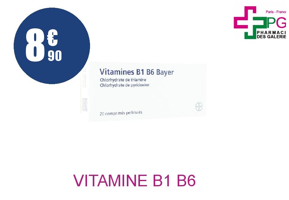 Achetez VITAMINE B1 B6 BAYER Comprimé Pelliculé Plaquette de 20